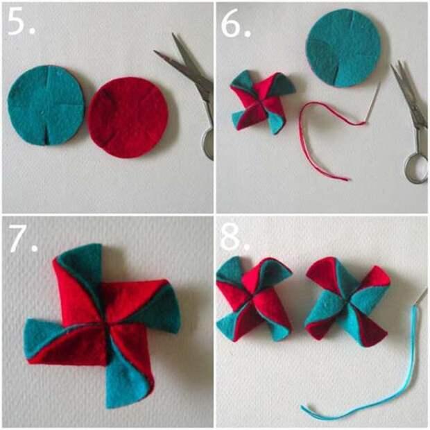 Елочные игрушки из фетра: вертушки. Как сделать новогодние игрушки из фетра своими руками