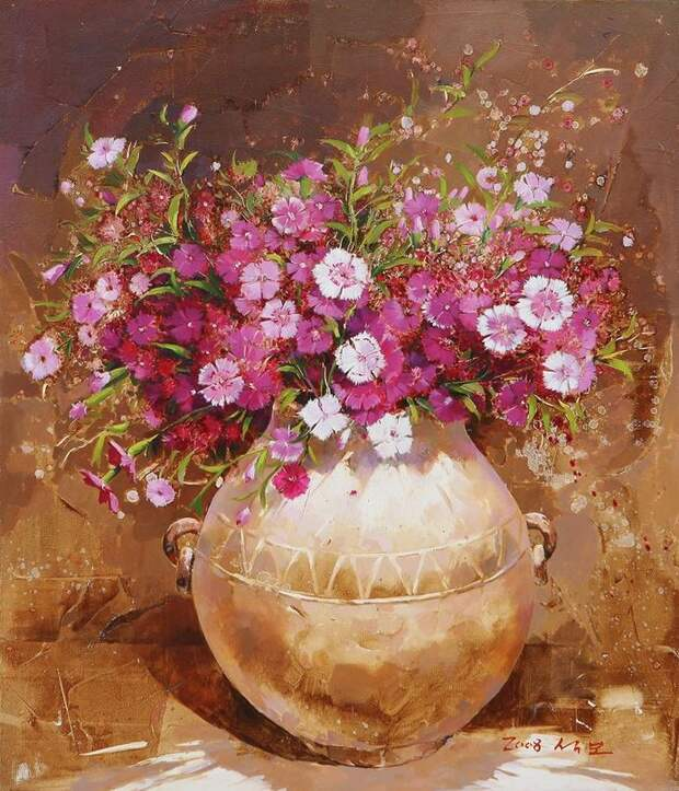 Корейский художник Yi Seong-bu. Натюрморт с цветами. Картина шестая