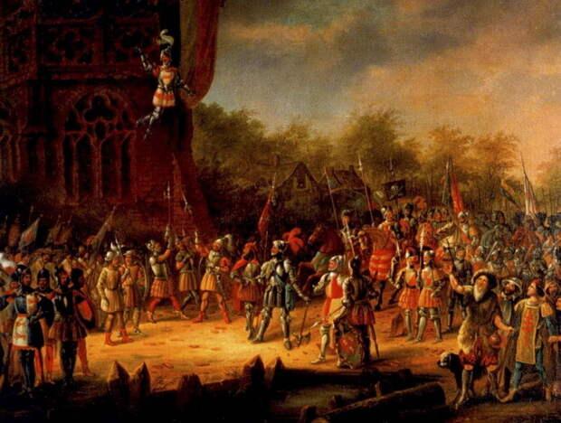 Подвиг ван Шаффелара. Картина неизвестного художника XVII века. Этот эпизод происходил в 1484 году. Сторонники «крючков», осаждённые в замке Бранневельд, решили капитулировать. Их противники предъявили условие капитуляции: «крючки» должны убить своего командира. Те отказались, и тогда их командир, Ян ван Шаффелар, спасая своих людей, сам бросился вниз с колокольни церкви - Футбол и другие странные дела | Warspot.ru