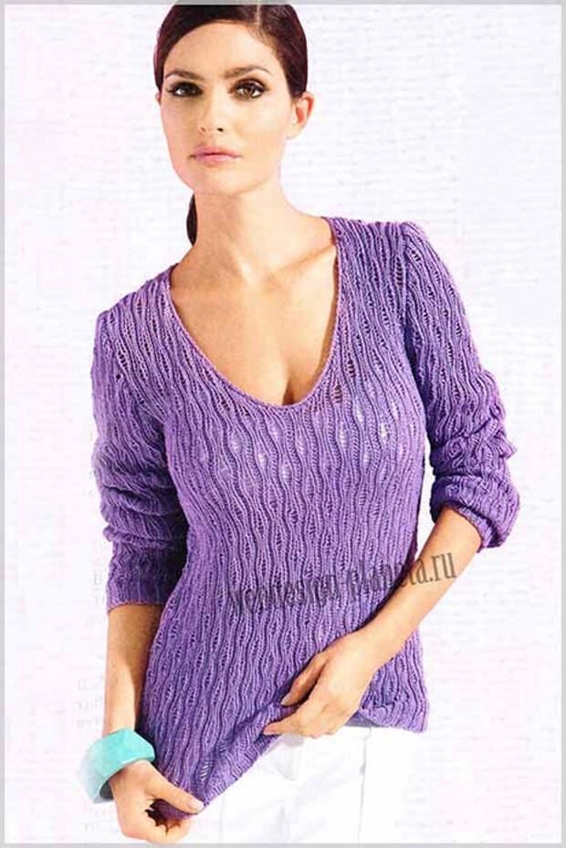 fialkovyj-zhenskij-pulover-spitsami-s-v-obraznym-vyrezom-foto (467x700, 290Kb)