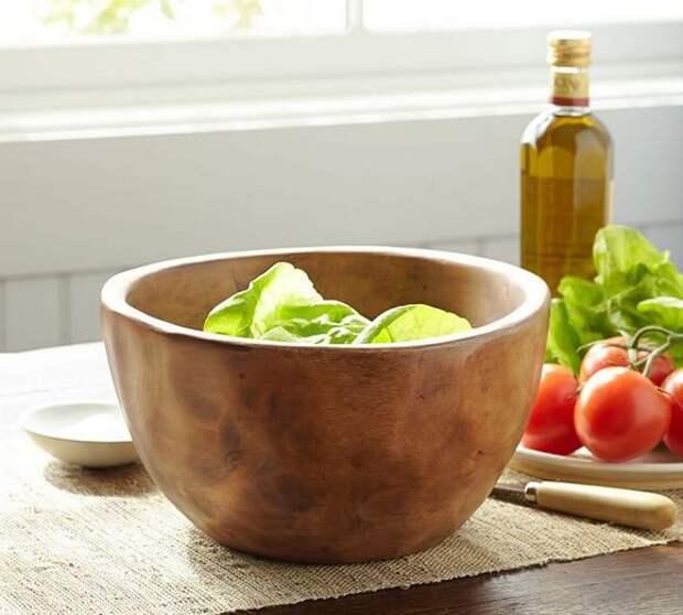 Деревянная чаша для фруктов, интерьерные аксессуары в стиле кантри