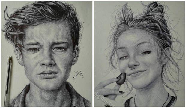 Бразильский художник создает необычайно реалистичные и эмоциональные портреты обычной ручкой