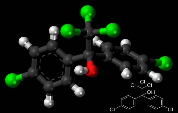 Рисунок 4. Атомная модель и химическая структура молекулы дикофола Источник «Википедия»