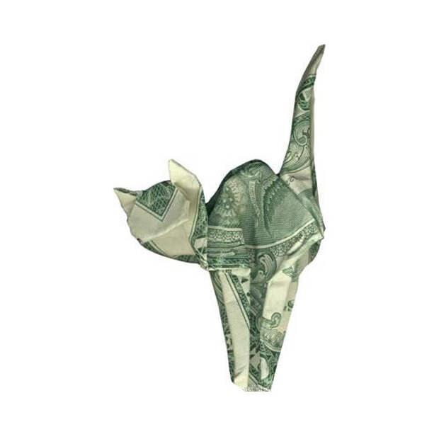 Оригами из денег - кот