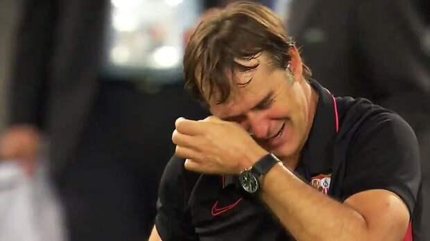 Тренер «Севильи» Лопетеги расплакался после победы в финале Лиги Европы: видео