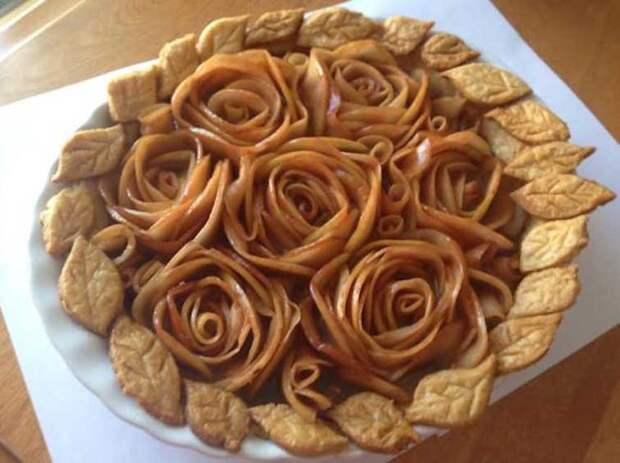 Пирог с яблочными розами выпечка, красивая еда, кулинария, пироги