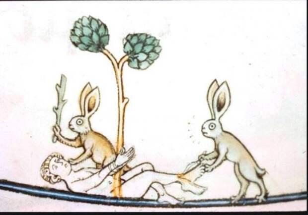 Кровожадный (предпасхальный) кролик, дролери в средневековых рукописях.