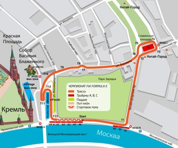 Схема трассы для гонки Формулы Е в Москве.