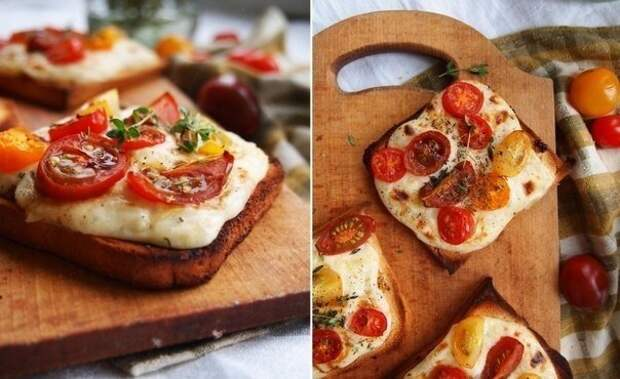 Тосты с сырным соусом и черри