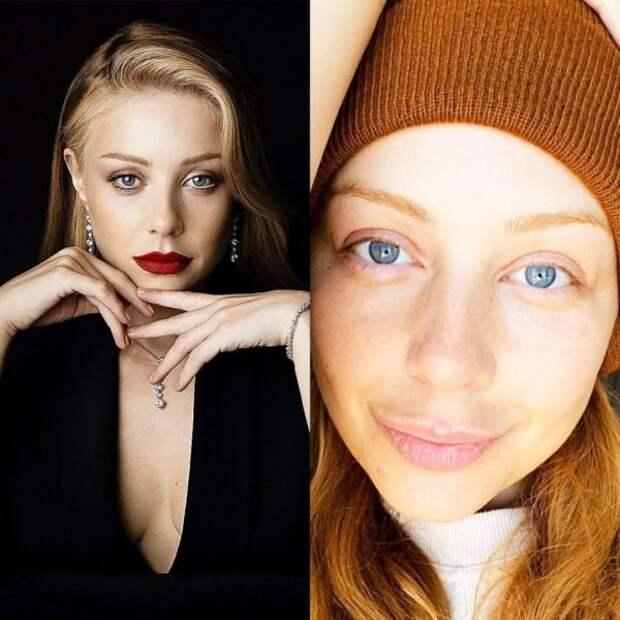 Тина Кароль с макияжем и без
