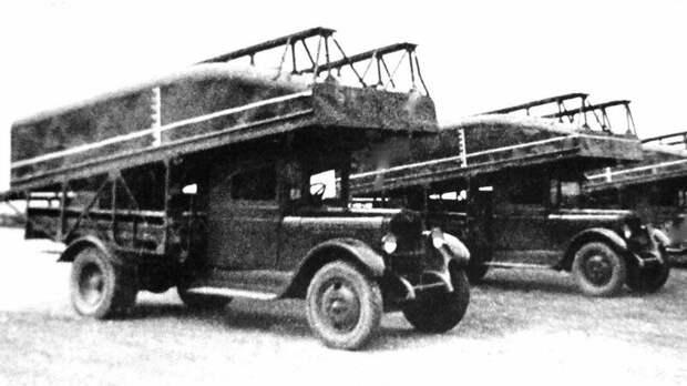 Машины «литер А-2» для транспортировки средних понтонов парка Н2П-32 авто, автоистория, военная техника, история, переправа, понтон, понтонно-мостовая переправа