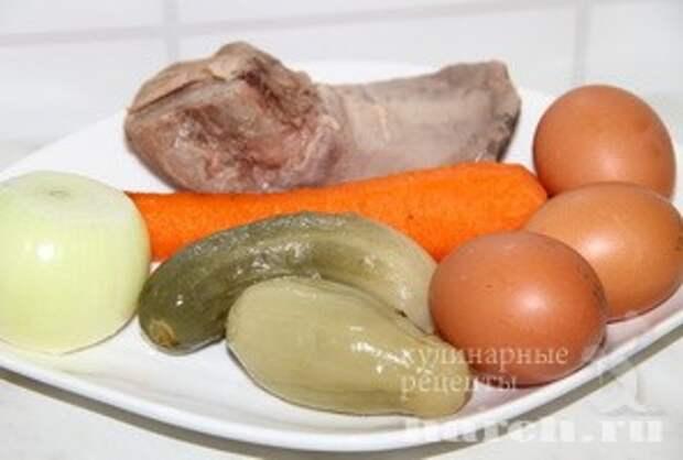 Салат с языком и яичными блинчиками Купец