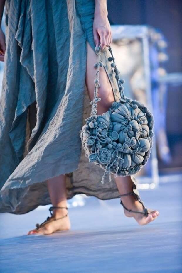 denim embellished bag