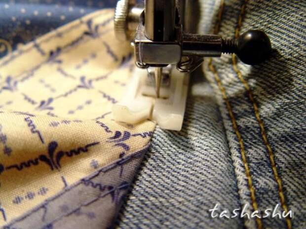"""Создаём """"кривое"""" лоскутное полотно и шьём «бохо» юбку из старых джинсов"""
