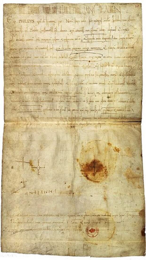 Подпись Анны Ярославны, королевы Франции, под грамотой Филиппа I.