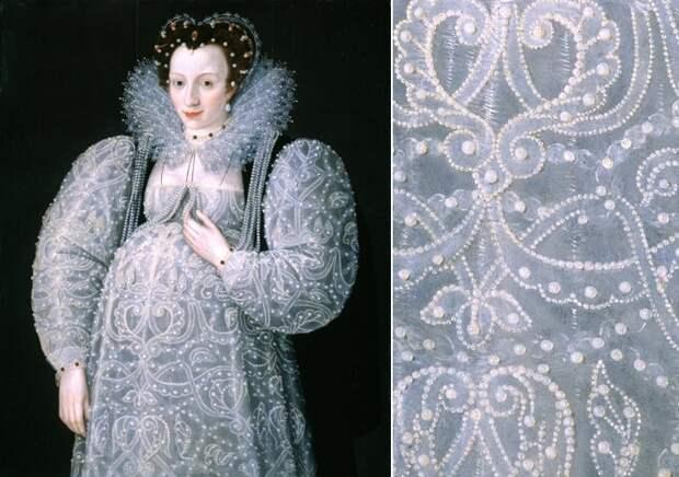 Да, мы не знаем, кем именно была загадочно улыбающаяся нам леди, но моем предположить, что она принадлежала к очень знатной и богатой семье, поскольку светло-серое платье, явно сшитое специально для беременной женщины, буквально усыпано жемчугом. Жемчуг, столько модный в ту эпоху, служил