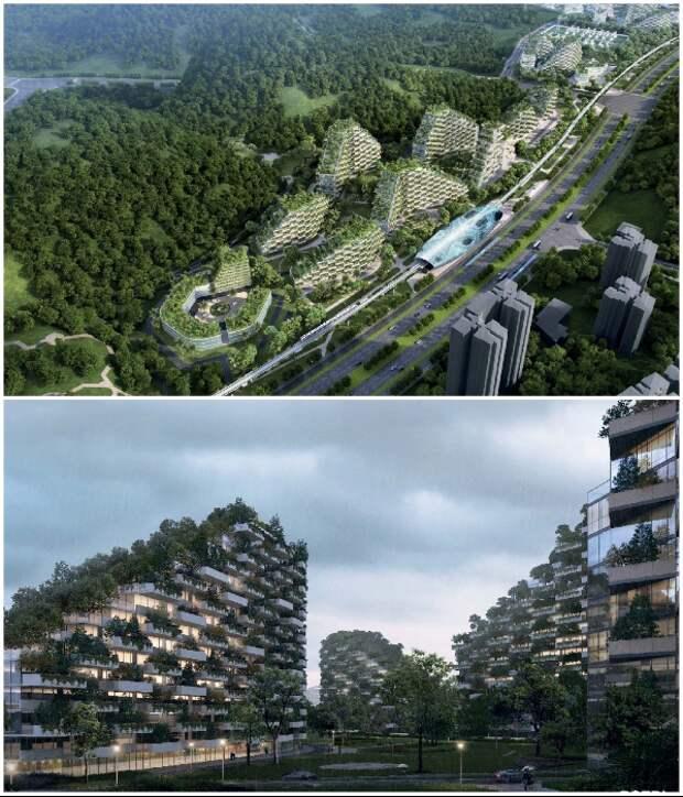 Китай ведет строительство уникального «города-леса», спроектированного архбюро Stafano Boeri Architetti. | Фото: hdfashion.tv/ vertaki.com.ua.