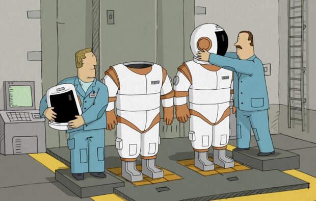 """Кадр из мультфильма:  """" Мы не можем жить без космоса"""""""