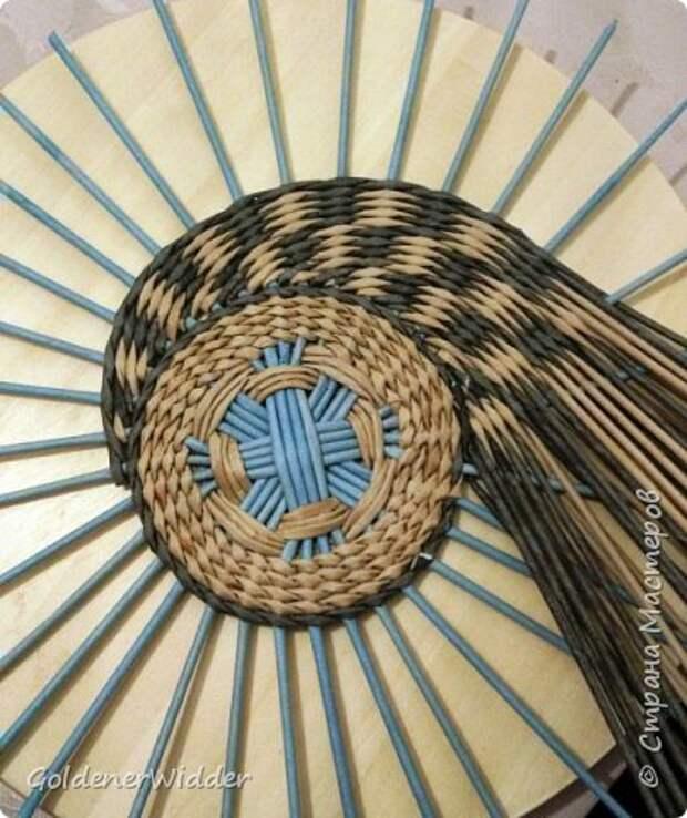 Мастер-класс Плетение Панно 40 см Спиральное плетение Бумага газетная Трубочки бумажные фото 11