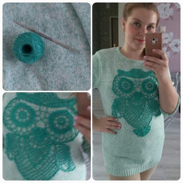 Декор свитера вязаной совой (DIY)