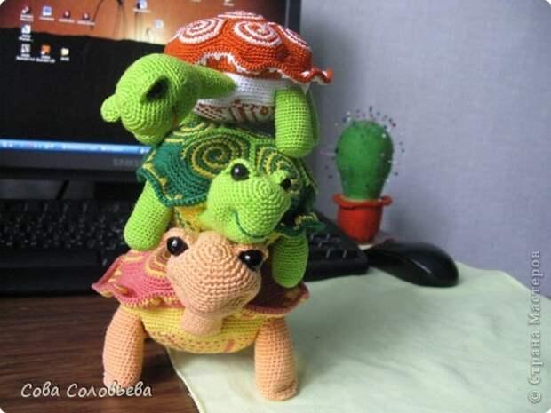 Игрушка Мастер-класс Вязание крючком изготовление Черепашки Пряжа фото 33