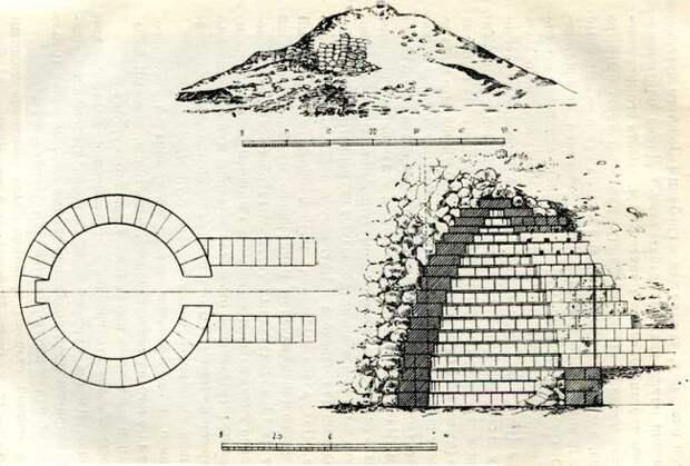 Золотой курган. общий вид 2 — пали склепа, 8 — продольный разрез склепа
