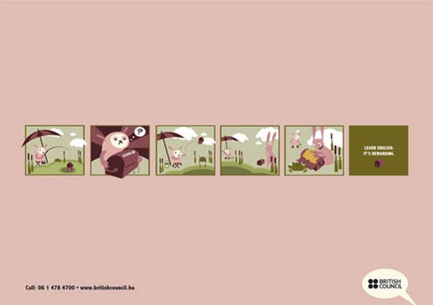 Розовые зайцы рекламируют английский язык