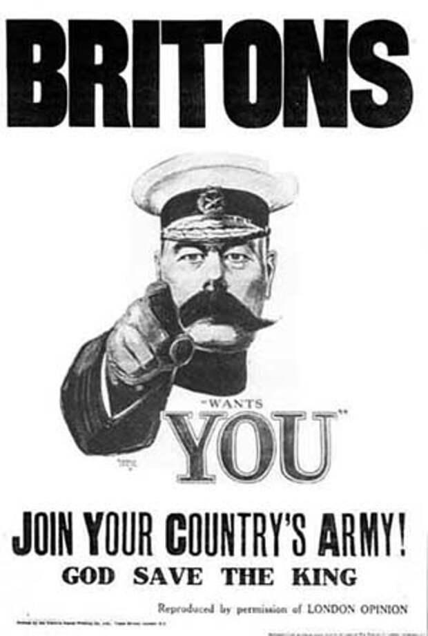 Британский вербовочный плакат, на котором изображен лорд Китченер. Альфред Лит, 1914 год.jpg
