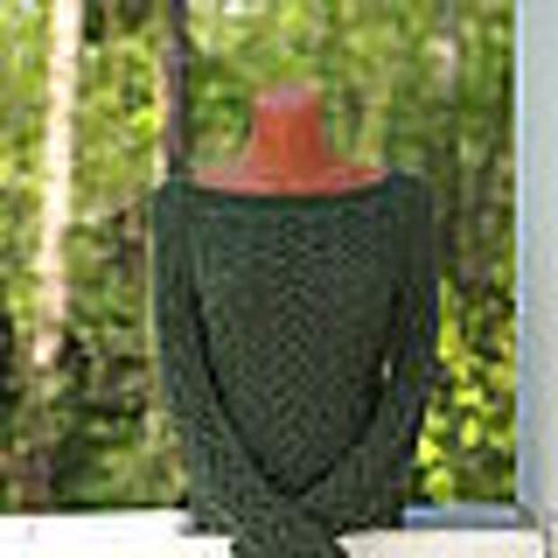 Темно-зеленый пуловер из хлопка