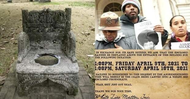 Черные активисты украли памятник президенту Конфедерации и угрожают превратить его в уличный туалет