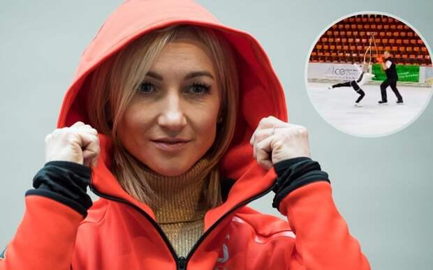 36-летняя фигуристка Савченко, ставшая в прошлом году мамой, прыгнула тройной аксель на удочке: видео