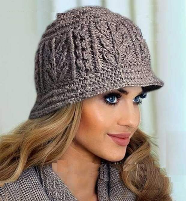 Вязаная с аранами шляпка (схема вязания)