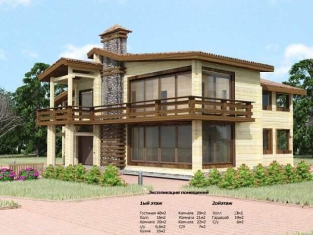 Еще один пример деревянного дома с камином, небольшими балкончиками на втором этаже и практически стеклянными стенами.