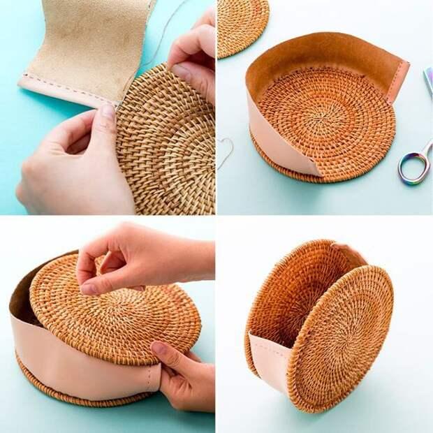Плетеные круглые сумочки (подборка, diy)
