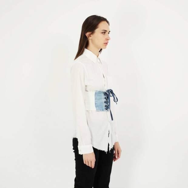 Блузка с джинсовым полукорсетом