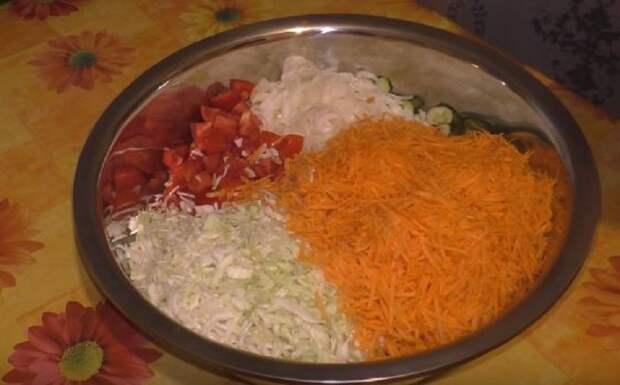 как резать овощи на салат