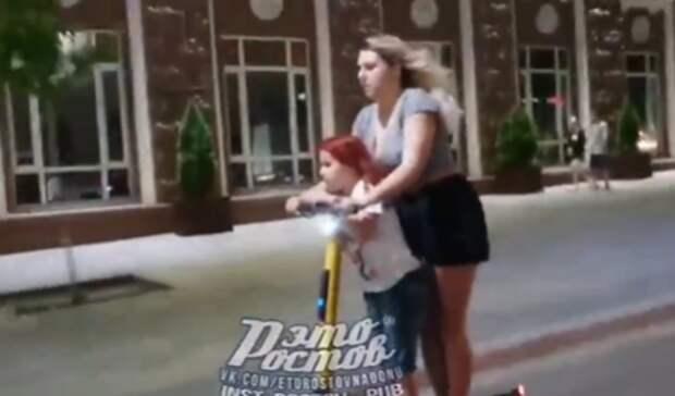 Ростовчане раскритиковали девушку наэлектросамокате, которая рискнула жизнью ребенка