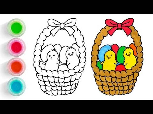 Пасхальная корзина l Как нарисовать пасхальные яйца l Открытка на Пасху