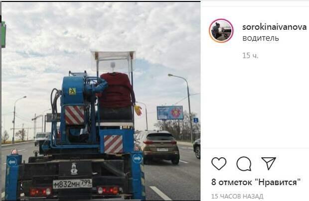 Фотокадр: по дороге возле платформы Лианозово технику водит «всадник без головы»