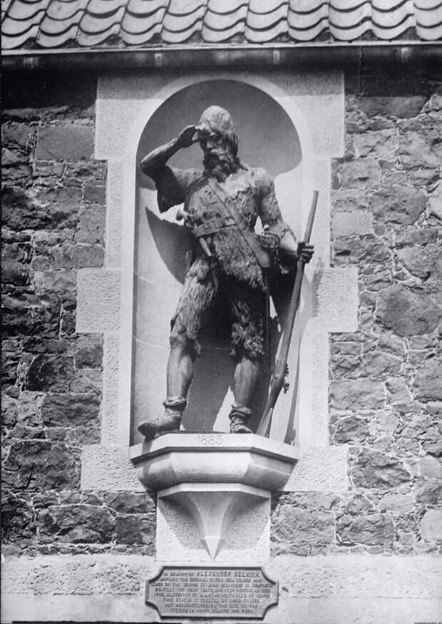 Statue erected to Robinson Crusoe on San Fernandiz Island, Chile