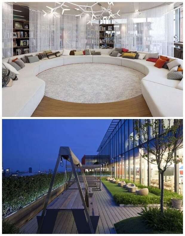 Зона библиотеки и открытая терраса максимально комфортны (Штаб-квартира Google в Лондоне, Великобритания).