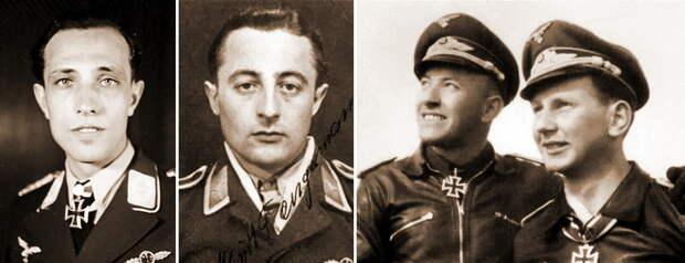 Штабное звено группы II./JG 54, лето-осень 1944 года. Слева направо: майор Эрих Рудорффер, официальная фотография при награждении Дубовыми листьями к Рыцарскому кресту, апрель 1944 года; постоянный ведомый командира группы Курт Тангерманн (Kurt Tangermann), 46 побед, на фото в звании унтер-офицера. На фото справа: два неразлучных друга — лейтенант Герман Шляйнеге (Hermann Schleinege) и его ведомый Хуго Брох, 97 и 81 победа соответственно. Все четверо пережили войну, в общей сложности заявив 448 воздушных побед - Рекорды Эриха Рудорффера: от Туниса до Прибалтики | Военно-исторический портал Warspot.ru