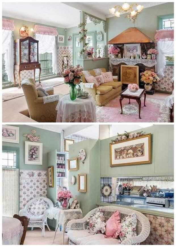 Стены гостиной и столовой имеют мятно-зеленый приглушенный цвет.