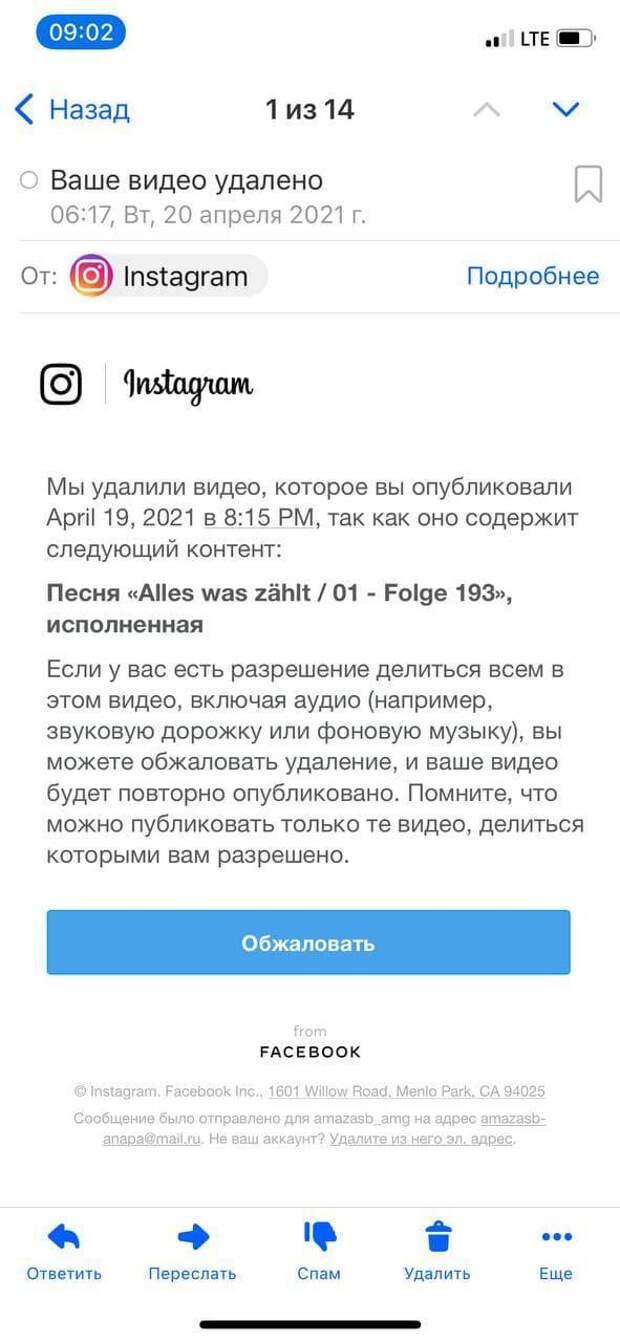 Instagram удалил видео, где депутат поет российский гимн. Права на него оказались у немецкого сериала