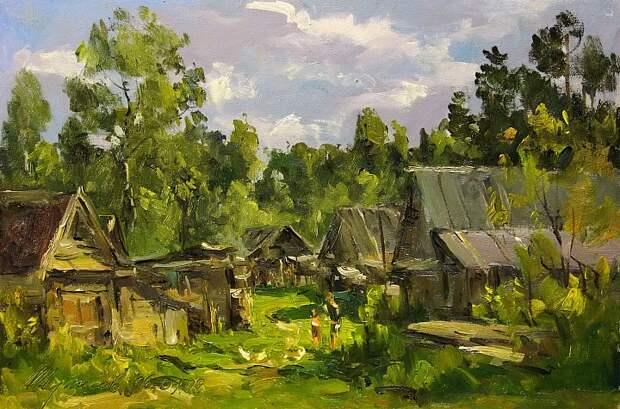 Святая простота: луг, околица, домишко...родные просторы кисти Владимира Туписова