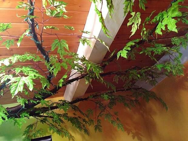 9. Декорирование веток дерева листьями дети, детская, детская комната, дизайн, идеи, ремонт, своими руками, фото