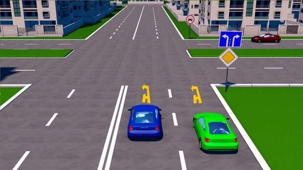 ПДД тест:Кому из водителей разрешено повернуть налево, в данной ситуации.