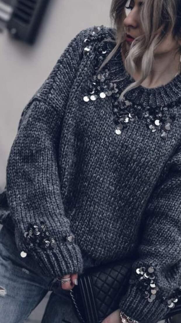 красиво и празднично украсить свой обычный свитер