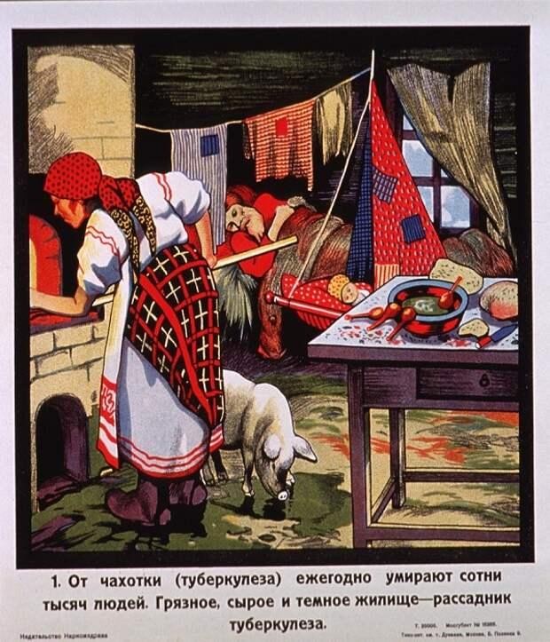 Советская власть уделяла особе внимание борьбе с туберкулезом (Плакат). | Фото: infosplanet.info.