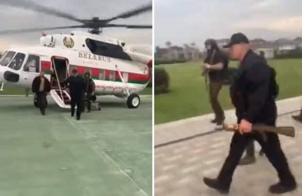 Лукашенко десантировался в Минске в бронежилете и с автоматом в руках
